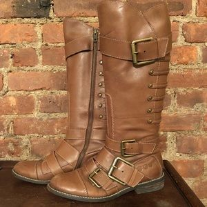 Brown leather Lucky Brand buckled boots